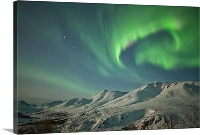 Aurora borealis over the Klondike Valley in Tombstone Territorial Park, Yukon, Canada