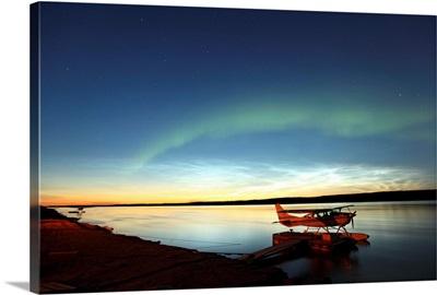 Aurora Borealis Over The Mackenzie River, Northwest Territories, Canada