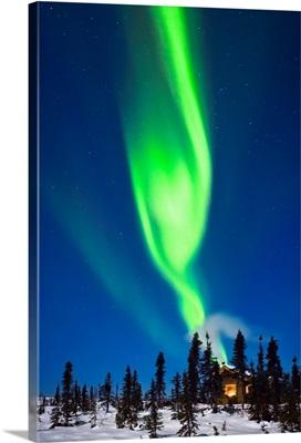 Aurora Over Cabin In The White Mountain Recreation Area, Alaska