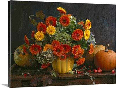 Autumn flower bouquet with pumpkins