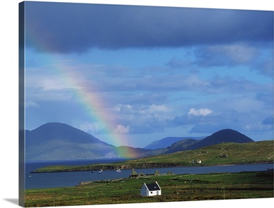 Ballinskellig, Ring Of Kerry, Co Kerry, Ireland; Rainbow Over A Landscape