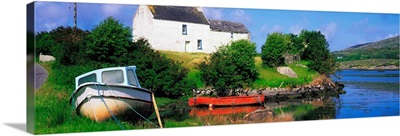Ballycrovane, Beara Peninsula, Co Cork, Ireland, House And Boats Near The Shore