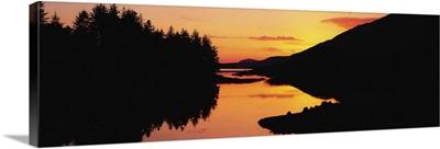 Ballynahinch Lake, Connemara, Co Galway, Ireland, Sunset Over A Lake
