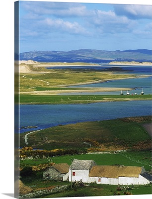 Ballyness, Co Donegal, Ireland, Aerial View Of House And Bay