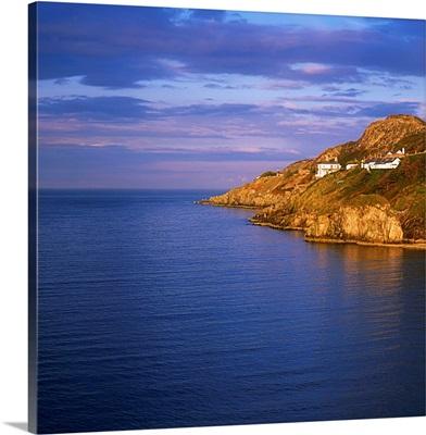 Balscadden Bay, Co Dublin, Ireland; Houses On A Cliff Over The Irish Sea