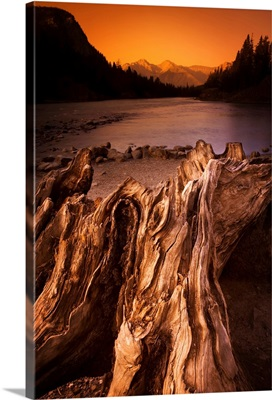 Banff, Alberta, Canada, Driftwood And A Mountain River At Sunset