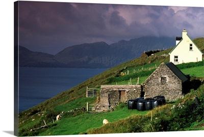 Beara Peninsula, County Cork, Ireland; Rustic Farmhouses On Hill