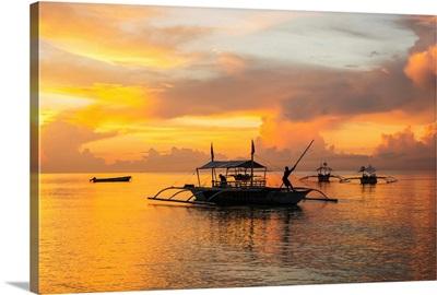 Beautiful sunrise in Alona Beach, Panglao Island, Bohol, Philippines