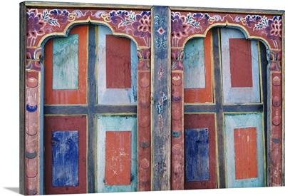 Bhutan, Paro, Ta Dzong Museum, Detail Of Wall Art And Architecture