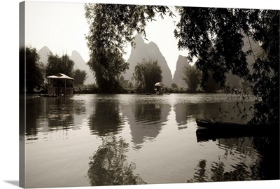 Black And White Scenic Of River, Yulong River, Yangshuo, China