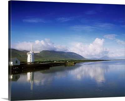 Blennerville Windmill Reflected In River, Tralee, County Kerry, Republic Of Ireland