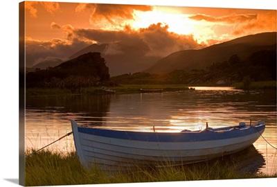 Boat At Sunset, Upper Lake, Killarney National Park, County Kerry, Ireland