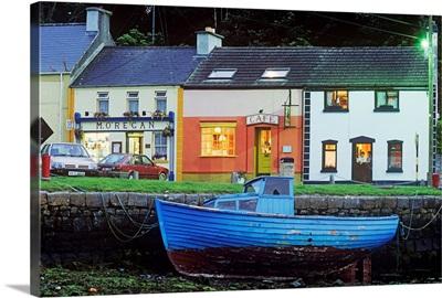 Boat Moored At A Harbor, Kinvara, Connemara, County Galway, Republic Of Ireland