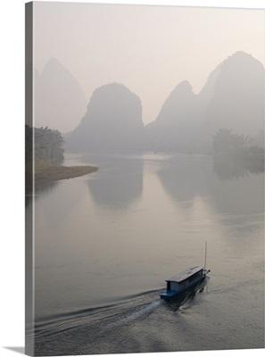 Boat on Li River, Yangshuo County, Guilin, Guangxi Province, China