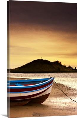 Boat On Sunset Beach, Alnmouth, Northumberland, England