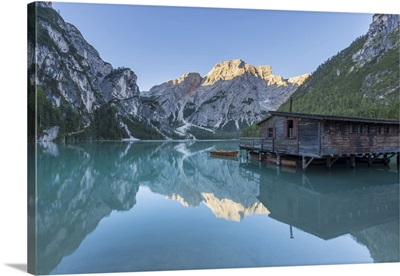 Boathouse With Croda Del Becco Reflected In Braies Lake, Dolomites, Italy