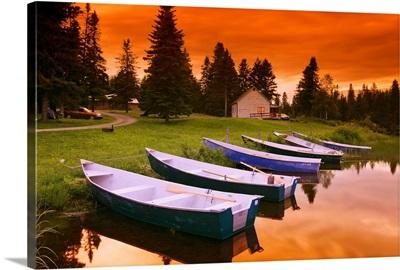 Boats And Cottage At Dusk, Rimouski Lake, Quebec, Canada