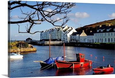 Boats Moored At A Riverbank With Buildings, Cushendun, County Antrim, Northern Ireland