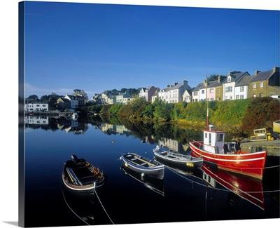 Boats Moored At Roundstone Harbor, Connemara, Republic Of Ireland