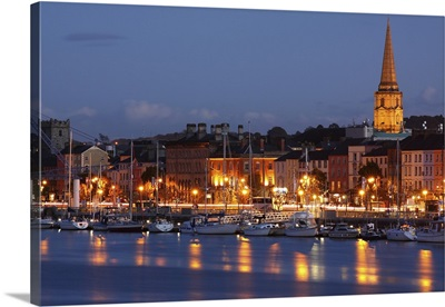 Boats Moored On River Suir At City Waterfront At Night; Waterford City, Ireland