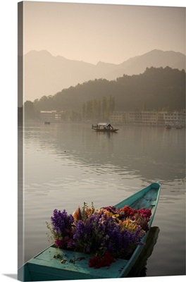 Bouquet Of Flowers In Bow Of Boat, Dal Lake, Srinagar, Kashmir, India