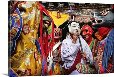 Buddhist Actors At Tashi Chhodzong During The Thimpu Festival