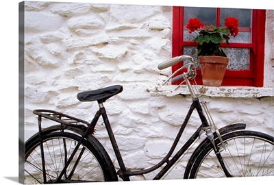 Bunratty Folk Park, County Clare, Ireland, Cottage Window And Bicycle