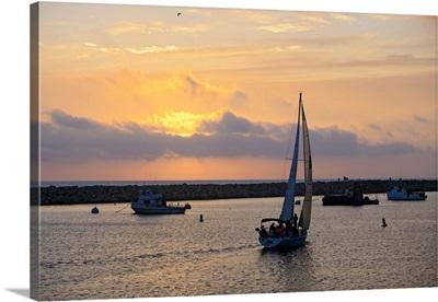 California, King Harbor, Sailboats at sunset in Redondo Beach
