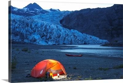 Campsite in front of Shoup glacier and mountains, Prince William Sound, Valdez, Alaska