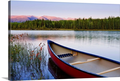 Canoe And Boya Lake At Sunset, Northern British Columbia, Canada