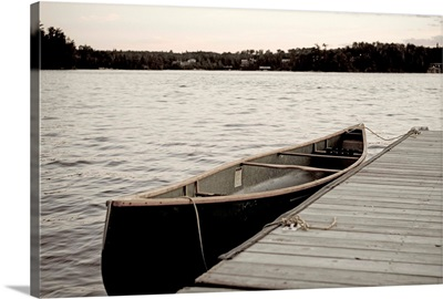 Canoe At Dock, Lake Of The Woods, Ontario, Canada