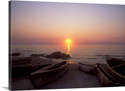 Canoes And Fishing Boats On Beach By Lake Malawi, Sunset