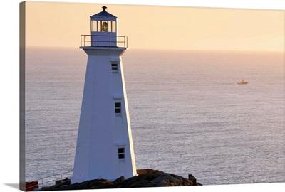 Cape Spear Lighthouse At Sunrise, Avalon Peninsula, Newfoundland, Canada