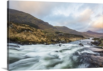 Cascades On A River In Black Valley With Macgillycuddy's Reeks, County Kerry, Ireland