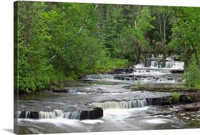Cascading Falls Along A Creek; Thunder Bay, Ontario, Canada