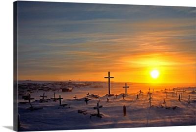 Cemetary In Winter, Igloolik, Nunavut, Cananda