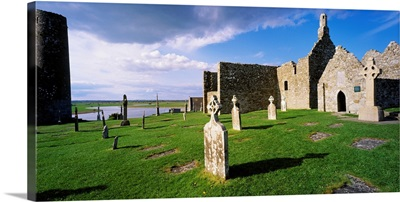Cemetery In Front Of A Monastery, Clonmacnoise, County Offaly, Republic Of Ireland
