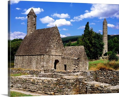 Chapel Of Saint Kevin At Glendalough And Round Tower, Glendalough, Ireland