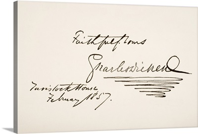 Charles Dickens, 1812 - 1870. English Novelist. Hand Writing Sample