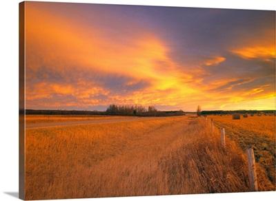 Chinook Arch At Sunset Near Bergen, Alberta, Canada