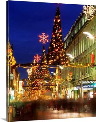 Christmas In Dublin, Henry Street At Night, Dublin, Ireland