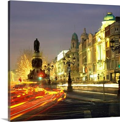 Christmas Traffic On O'connell Street, Dublin City, County Dublin, Ireland