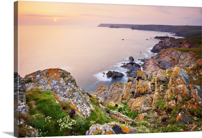 Cliffs And Rugged Coastline Of Lizard Point, Lizard Peninsula, Cornwall, England