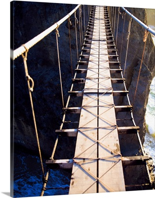 Close-Up Of A National Trust Rope Bridge, Carrick-A-Rede, County Antrim, Ireland;