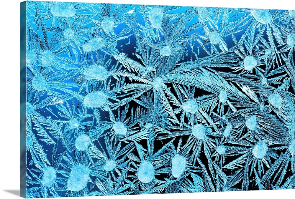 Close Up Of Frost Crystals With Cyan Lighting Calgary Alberta Canada