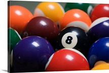 Close Up Of Pool Balls Racked On A Billiard Table Focused On The Eight Ball