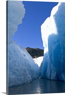 Close up of towering seracs and blue glacier ice of Mendenhall Glacier