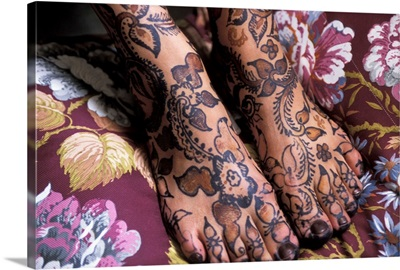 Close-Up Of Woman's Feet With Henna Tattoo
