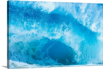 Closeup Of Crashing, Blue Wave