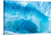 Closeup Of Crashing, Blue Wave